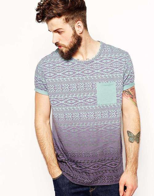 beardbrand: ASOS T-Shirt With Geo-Tribal Stripe And Dip Dye, posted by ombre-style via fashionwear4men