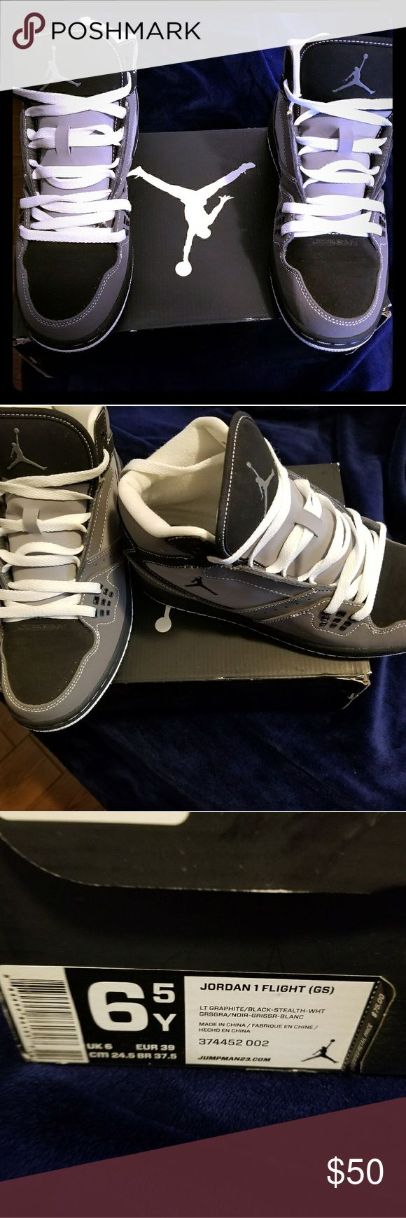 JORDAN 1 Flight Grey and Black Jordans worn 1 time. Excellent Condition. Will fit Womans Size 8 or Boys Youth size 6.5 Shoes Athletic Shoes
