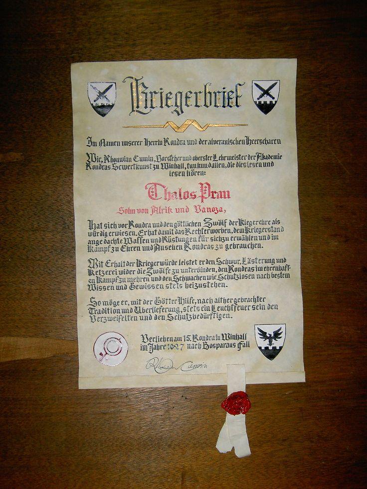 Der Kriegerbrief des Thalos Pran by Panthaleon