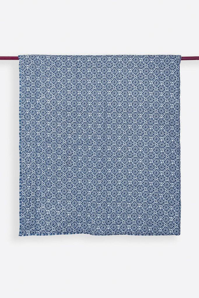 Amreen Indigo Handprinted Reversible Cotton Quilt