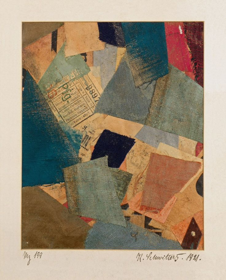 Kurt Schwitters, Mz 199, 1921. Colored and printed paper and colored and painted fabric collage with paperboard border, image: 7 1/16 x 5 11/16 inches (17.9 x 14.4 cm)