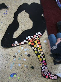 Our art program has been getting so many positive comments about the front entrance of our building and these vibrant mosaic silhouettes.  Using marbled paper that the students made and thinking about color choice that coincided with their action or movement was very important.  Lastly, we incorporated a literacy element inspired by Eric Carle's Brown Bear, Brown Bear What do you see?