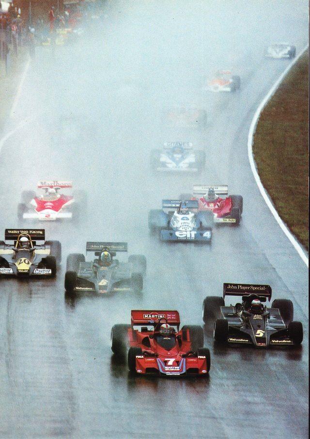 John Watson (Brabham BT45B Alfa V12), Mario Andretti and Gunnar Nilsson (Lotus 78), Jody Scheckter (Wolf WR1), Patrick Depailler (Tyrrell P34), Zolder 1977