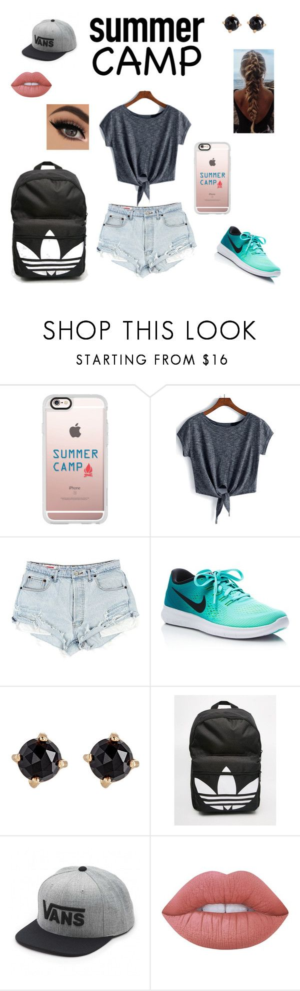 """""""Summer Camp With Style"""" by divadancer23 ❤ liked on Polyvore featuring Casetify, NIKE, Irene Neuwirth, adidas, Vans, Lime Crime, summercamp and 60secondstyle"""