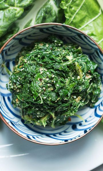 Not sure how to tackle Swiss chard? Try this out! | 7 ingredient Swiss Chard Sesame Salad recipe