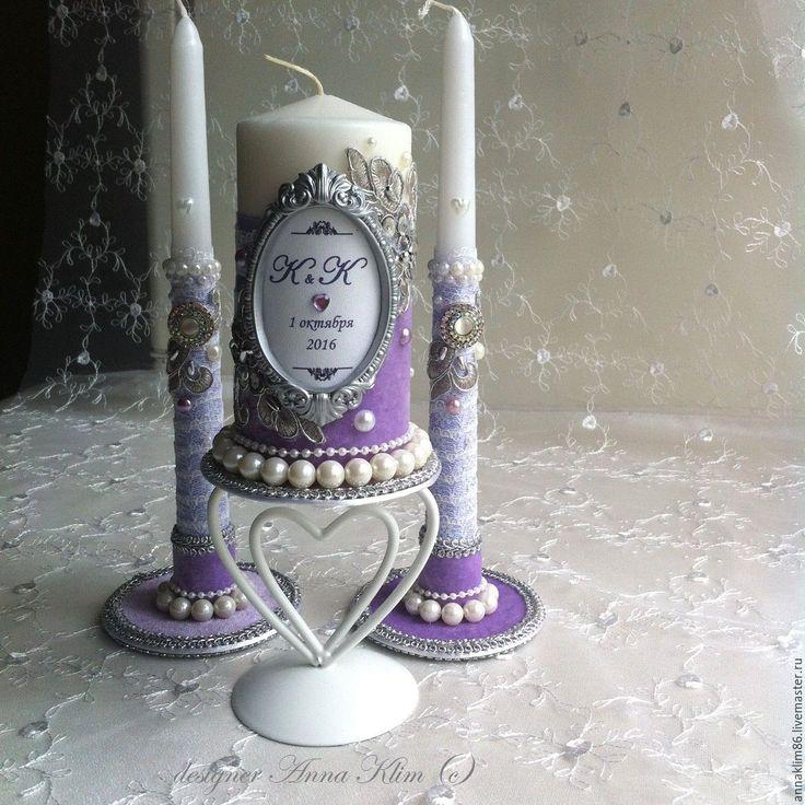 """Купить Свечи семейный очаг """"сиреневые мечты"""" возможны варианты цвета!!! - свечи свадебные"""