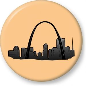 St louis gateway arch vector drawing - Button Badge - Brooch - Gift