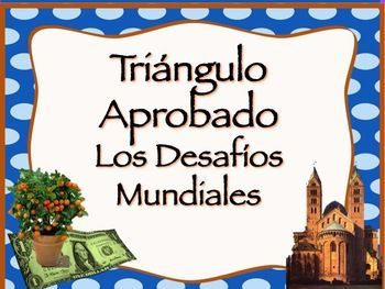 """These vocabulary activities and assessments supplement the book, """"Triángulo Aprobado""""  chapter one, """"Los Desafíos Mundiales"""" for AP Spanish.  They include the following:  ~Cover page, """"Triángulo Aprobado, Los Desafíos Mundiales""""  ~Vocabulary lists with synonyms, definition and use in context  ~URL for site (Quizlet) where students can hear the word, practice with flash cards and play games for more repetition  ~Quiz for each of the six subchapters of """"Los Desafíos Mundiales"""" in which ..."""
