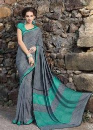 Casual Wear  Crepe Grey Printed Saree