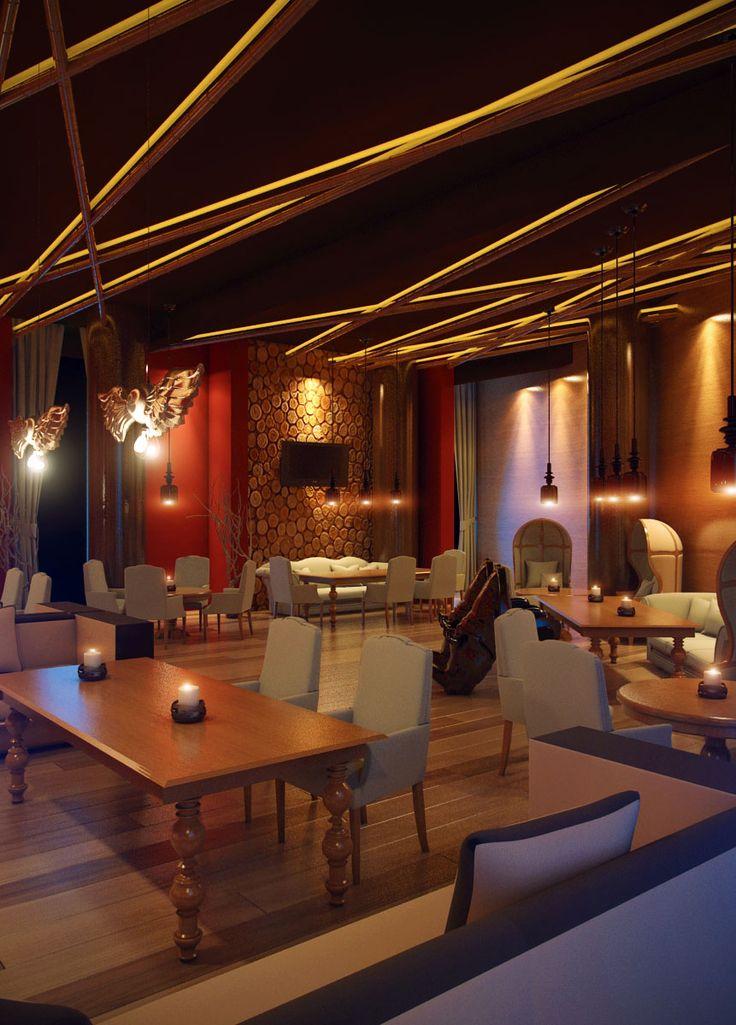 Пробная расстановка света. Караоке-бар. Бамбуковый потолок.