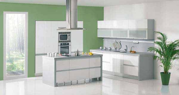 Green Apple Kitchen Design and Decoration Theme, White and Green Kitchen Paint Colors