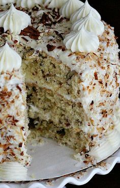 Italian Cream #Cake ~ This Italian cream cake is heavenly good and it looks just so delightful.
