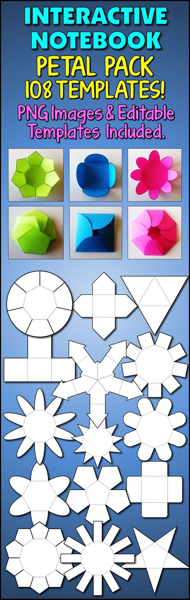 SPICE UP YOUR BULLETIN BOARD!  These 108 petal fold templates can be used to create interactive elements to your board.  Templates includes 3 fold petals up to 12 fold petals in various shapes.  Never be left with a fold or petal number you can't find!