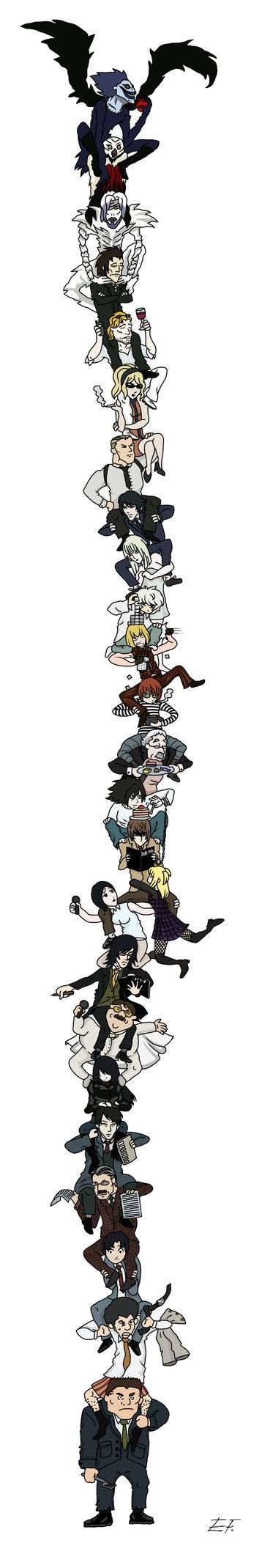 Death Note on Shoulders - Colored version by erinxf