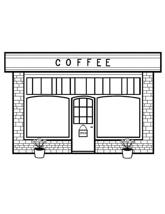Coffee Shop Coloring Page In 2020 Coffee Shop Coloring Pages