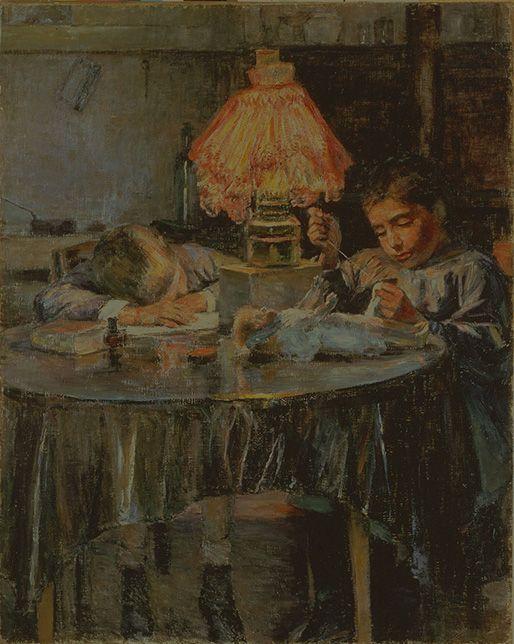Kuroda Seiki, Lamp and Two Children,  1891