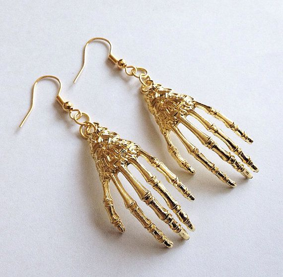Gold Skeleton Hand Earrings by TeacupRose on Etsy