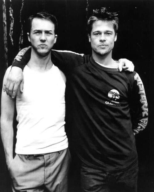 Edward Norton & Brad Pitt #blackandwhite wwhat I would do to be in the middle of that fightclub