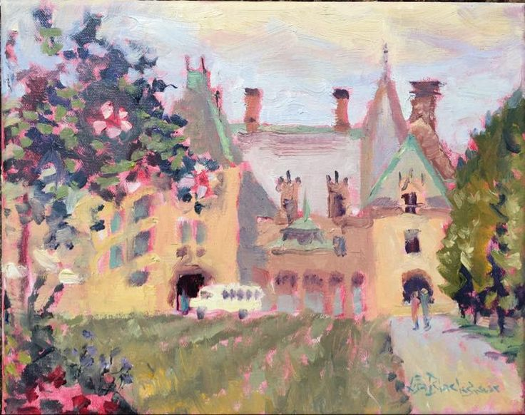 Biltmore Estate on a Hazy Day contemporary oil landscape cityscape painting by Lisa Blackshear