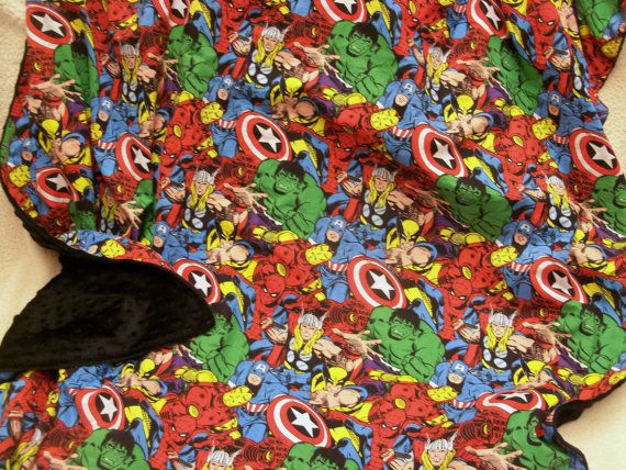 Avenger and minky blanket. Awesome Avenger character cotton backed with plush minky big blanket. Free personalization
