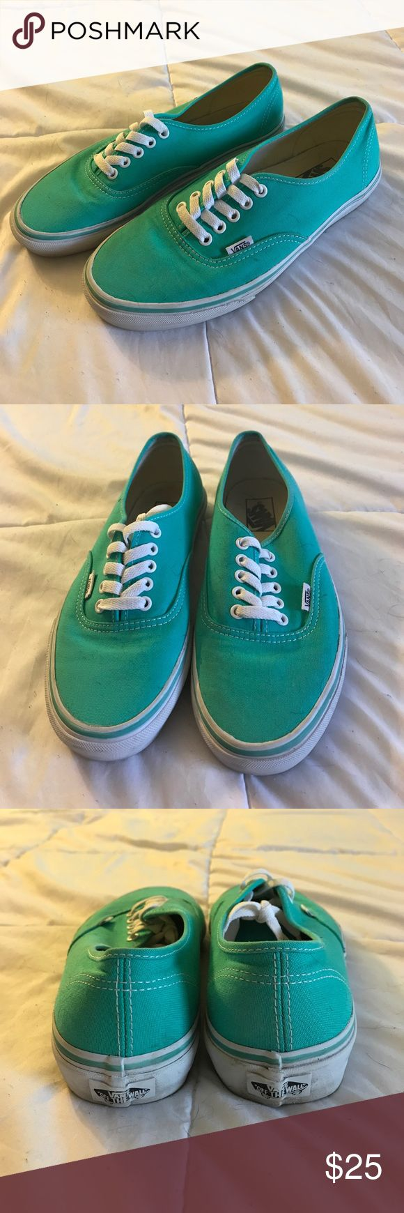 Teal Vans These are teal Vans. Size men 8 women's 9.5. Only worn a handful of times and are still in great condition. Vans Shoes Sneakers