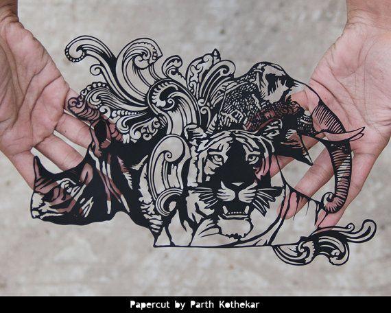 Papercut Art - note de Roupie indienne de 10