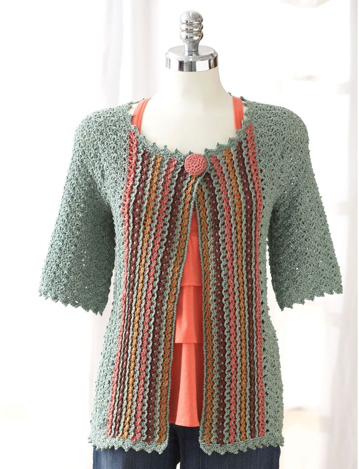 Yarnspirations.com - Patons Crochet Jacket - Patterns  | Yarnspirations.  I really like this pattern, there are so many fun color combos one could do.