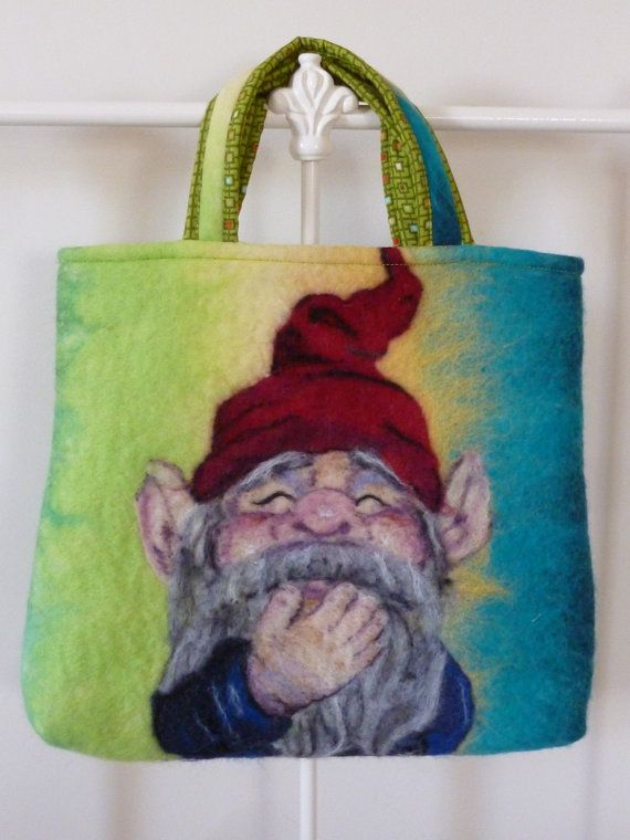 Hand felted gnome art handbag
