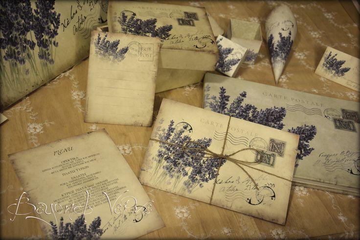 Carte postale wedding set (invitation -  menu cards - wishcards - cones - thank you cards - sign - guestbook - favor box) - Lavender  - Vintage wedding stationery - Beyond Verve
