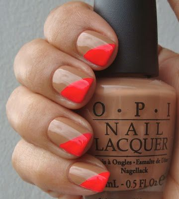 Nude and neon nails. OPI. Nail Art. Nail Design. Polished. Polishes.