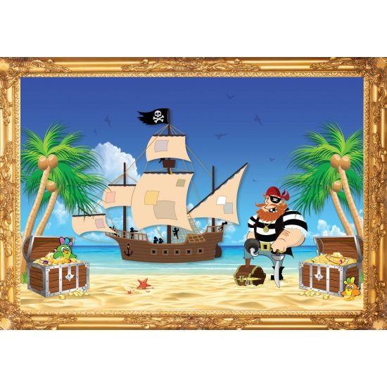Piraten poster, Roodbaard. Formaat A2 - 59 x 42 cm. Leuke piraten thema poster voor op een piratenfeestje of kinderkamer.