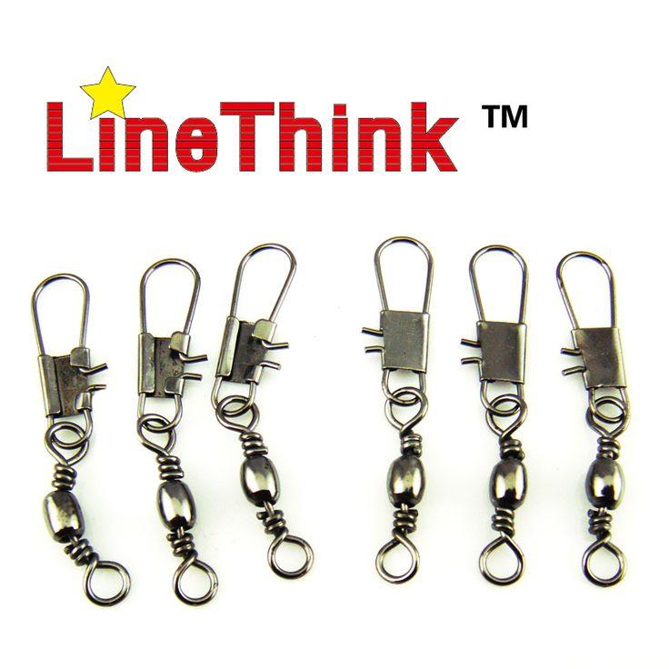 100 pçs/lote linethink marca terminal de pesca giratória com a pesca o snap interlock acessórios isca de pesca equipamento de pesca