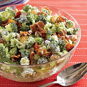 Crunchy Broccoli Slaw Recipe ~ Golden raisins and honey add sweetness to this chopped broccoli salad, while bacon, onion and white balsamic vinegar add savory notes