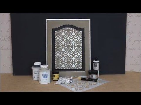 How To Stencil Tutorial (VIDEO): DIY Distressed Silver Leaf Cabinet Door    Learn