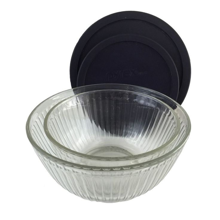 Pyrex Glass Bowls 2 Clear Mixing Serving Bowls Ribbed