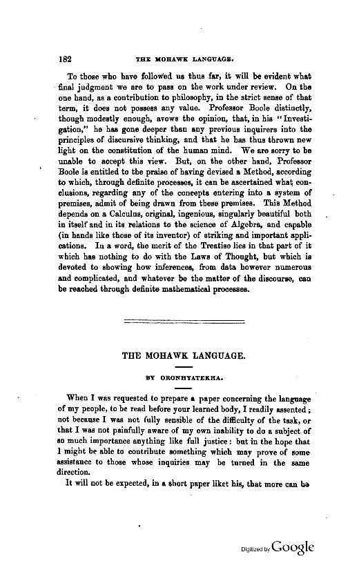 1865  Edition Of The Canadian Journal of Industry Science And Art  Article The Mohawk Language Page 182