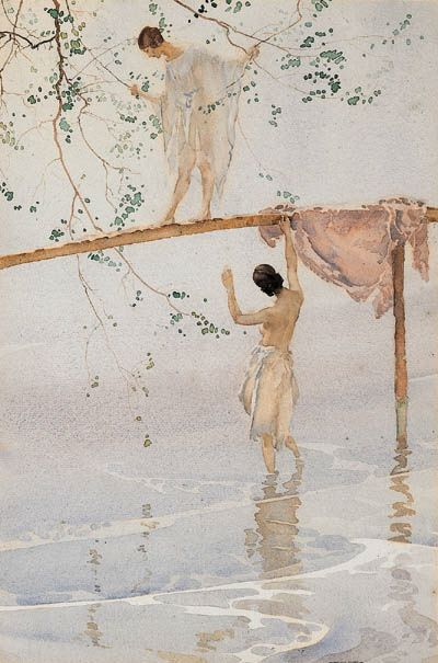 Sir William Russell Flint (Scottish, 1880-1969) Caprice  Watercolour, ca. 1923 http://johnpirilloauthor.blogspot.com/