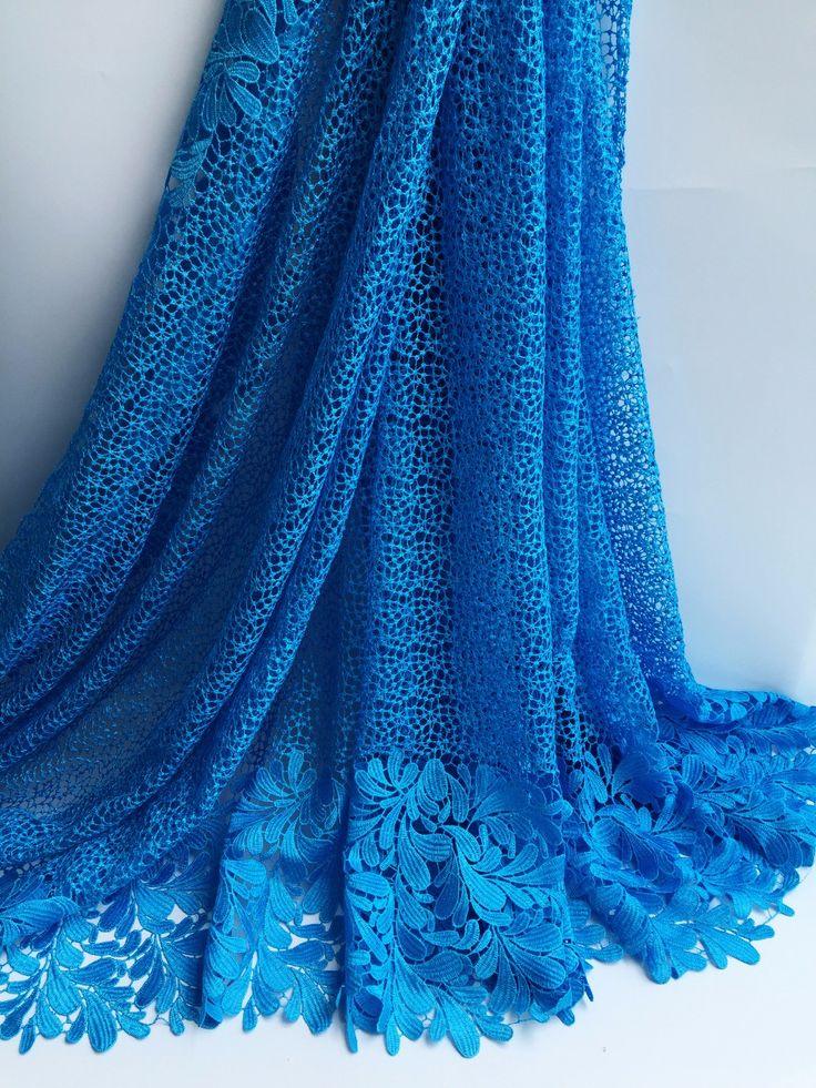 (5 m/lot) BŁĘKITNY Kolor bawełniane koronki tkaniny, wysokiej jakości tkaniny koronki Afryki, dość Swiss koronki dla kobiet strój! SML8-3013