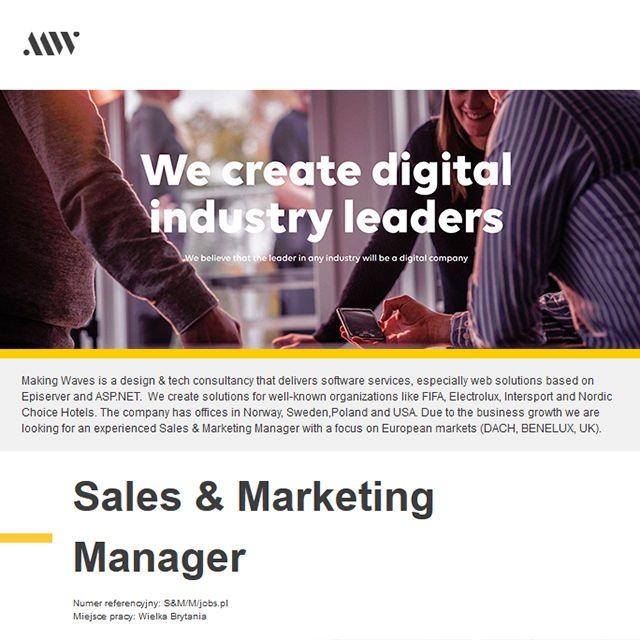Dziś polecamy ofertę: Menadżer sprzedaży i marketingu  Stanowisko: Sales & Marketing Manager Miejsce pracy: (Londyn) WielkaBrytania