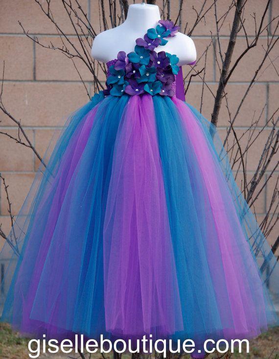 Flower girl dress. Purple and Teal TuTu Dress. baby tutu dress, toddler tutu dress, wedding, birthday,