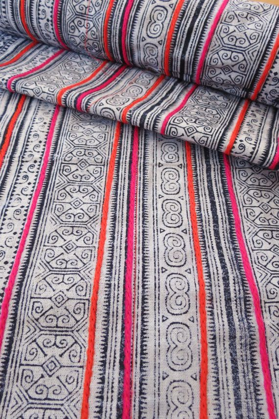 Handwoven Hmong cotton, Vintage fabric, Batki textiles and fabrics- Table runner,