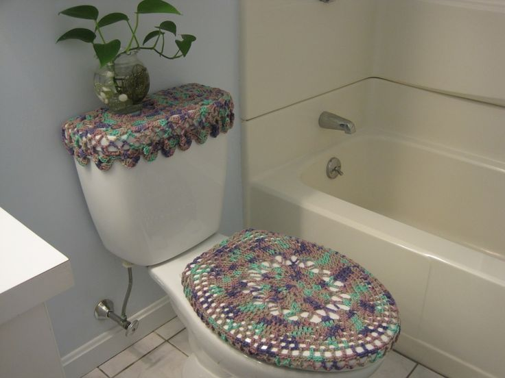 Awesome Crochet Covers For Toilet Seat U0026 Toilet Tank ...
