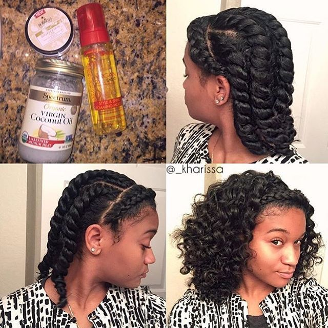 By @_kharissaOne braid in the front, 5 twists in the back ➰ #transformationtuesday #voiceofhair