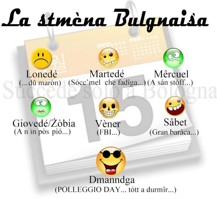 Week in Bolognese dialect.   www.succedesoloabologna.it