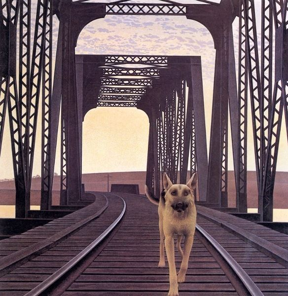"""Dog and Bridge"" by Alex Colville (b. 1920)"