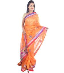 Buy Orange printed Kota Cotton saree with blouse shimmer-saree online