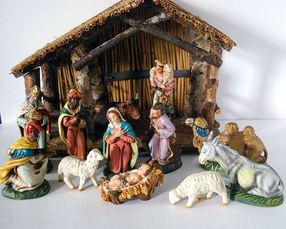 Vintage Italian Nativity Set Retro Christmas Decorations