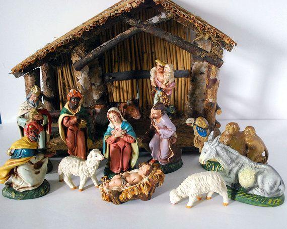 Vintage Italian Nativity Set Retro Christmas Decorations