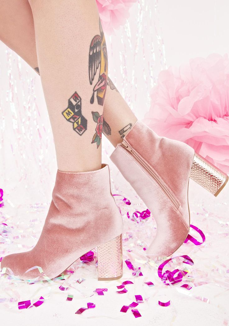 Dreamscape Ankle Boots ...wish we were lucid when you were around, bb. These gorgeous ankle booties feature a plush mauve-y pink velvet construction, metallic rose gold block heel, sleek tapered fit, and side zip closure.