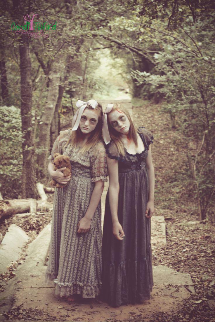 Halloween Creepy Ghost Twins Girls Costume Candi Telford
